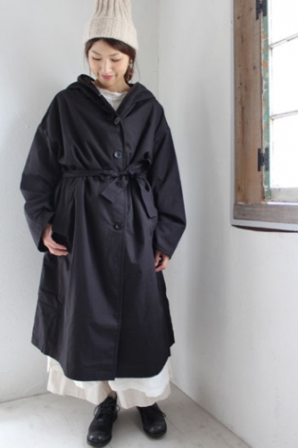 HOODED LONG COAT WITH BELT(soil)