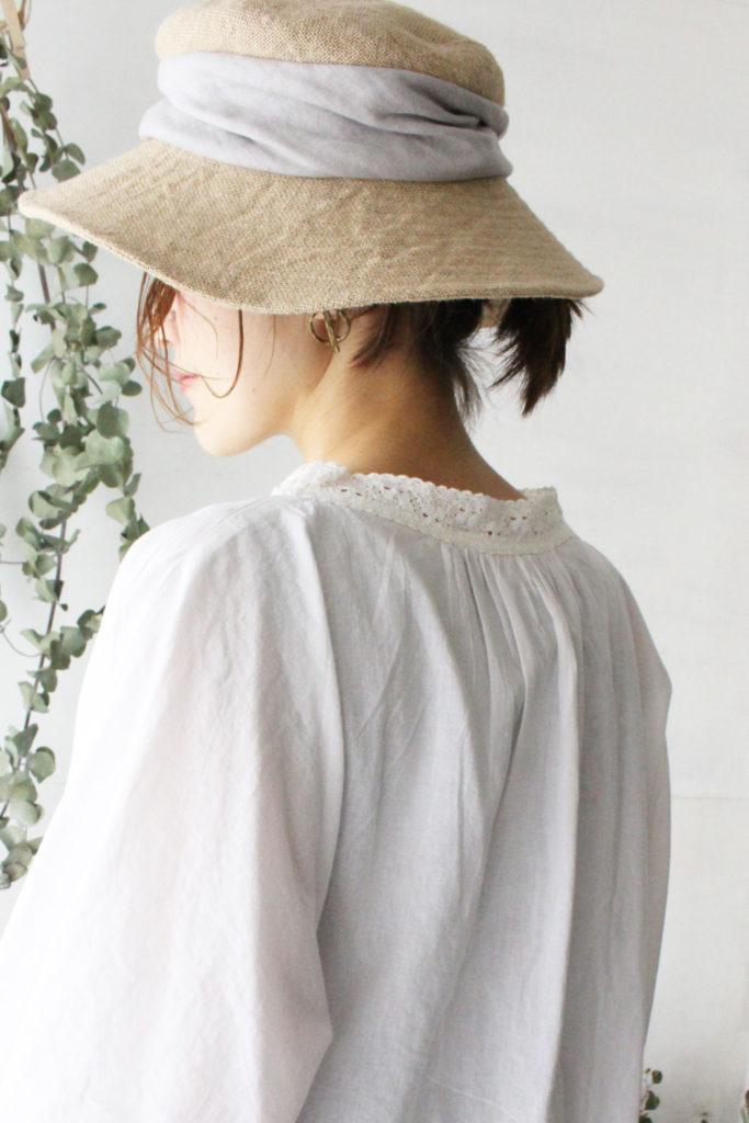 MJT-015W jute drape hat wide(mature ha.)