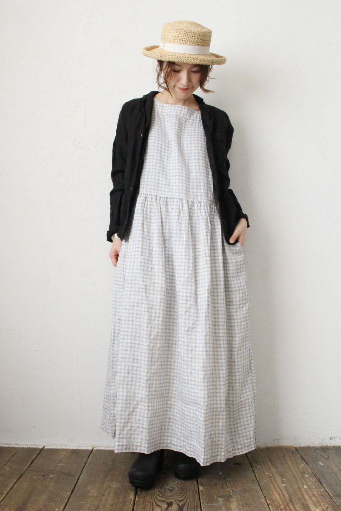 BOAT NECK NO/SL ONE-PIECE*CHECK(ARMEN)